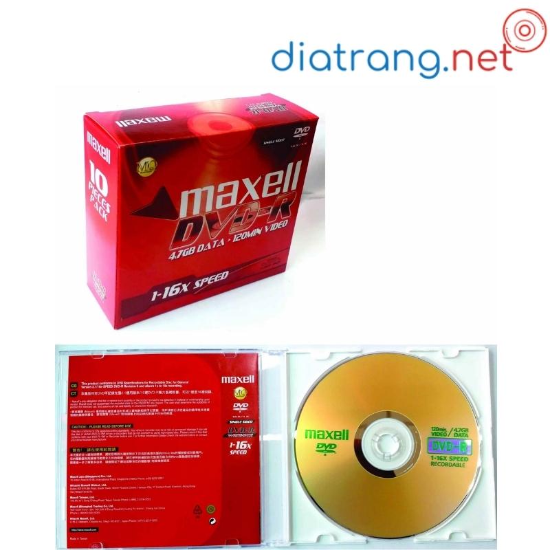 đĩa trắng dvd maxell có vỏ
